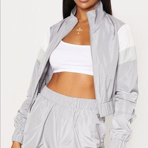 Grey Stripe Shell Tracksuit Top